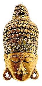 Mascara Buda Decorativo Dourado de Madeira de Bali