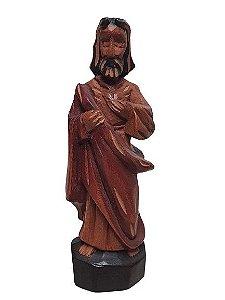 Escultura Sagrado Coracao de Jesus esculpido em Madeira