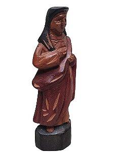 Escultura Sagrado coracao de Maria esculpida em Madeira