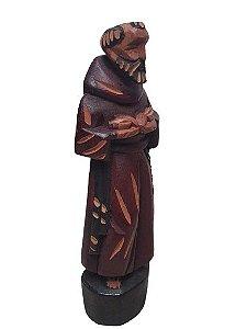 Escultura Sao Francisco esculpida em Madeira