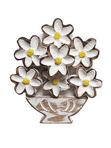 Quadro Rustico flores Brancas em madeira P