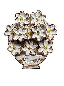 Quadro Rustico flores Brancas em madeira G