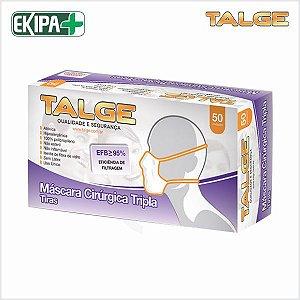 Máscara Descartável TNT Tripla com Tiras Talge EFB 95% - Caixa com 50 unidades