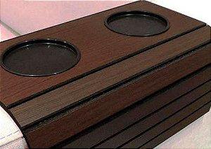 Esteira Para Braço De Sofá Flexível Com Porta Copos Estampa Tabaco