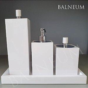 Conjunto de bancada luxo 4 peças  quadrado - resina