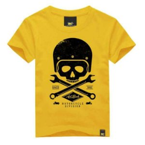 CAMISETA INFANTIL MOTORCYCLE SKULL ART ROCK