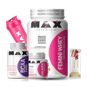 Kit Femini Whey 600g + Colágeno + BCAA + Coqueteleira