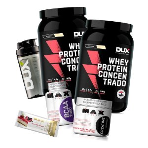 Kit 2x Whey Concentrado Dux Nutrition + BCAA + Creatina + Coqueteleira