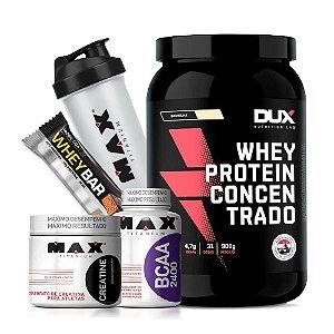 Kit Whey Concentrado Dux Nutrition + BCAA + Creatina + Coqueteleira