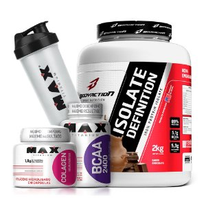 Kit Whey Isolado Isolate Definition Body Action + BCAA+ Colágeno + Coqueteleira