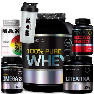 Kit 100% Whey + Creatina + Bcaa + Omega 3 + Multimax Complex + Coq