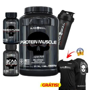Kit Protein Muscle + Thermo Flame + BCAA + Brindes - Black Skull