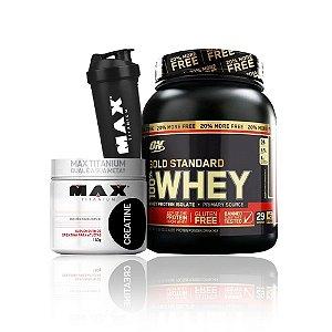 100% Gold Standard 20% Free (2,4Lbs/1090g) – Optimum Nutrition + Creatine Max Titanium 150g + Coqueteleira