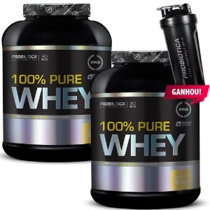 Kit 2X 100% Pure Whey 2Kg - Probiotica - Morango