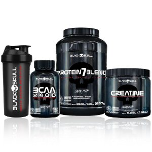 Kit Protein 7 Blend + Bcaa 2400 + Creatine + Brinde - Black Skull