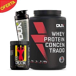 Kit Whey Protein Concentrado + Creatina Universal + Coqueteleira Dux - OFERTA