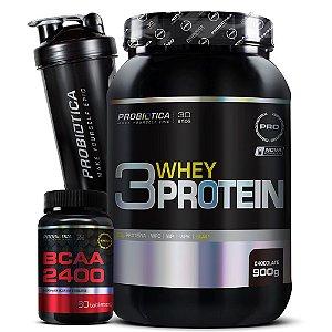 Kit 3 Whey Protein + Bcaa 2400 + Coqueteleira - Probiótica