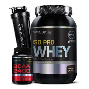 Kit Iso Pro Whey + Bcaa 2400 + Coqueteleira - Probiótica