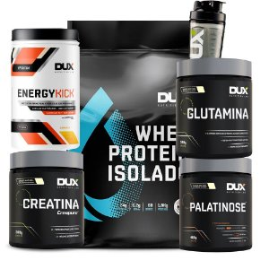 Kit Whey Protein Isolado + Glutamina + Palatinose + Creatina + Energy Kick + Coqueteleira Dux