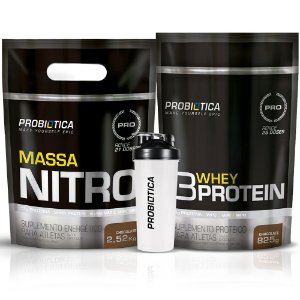 Kit Massa Nitro 2,52kg + 3 Whey Protein 825g + Coqueteleira - Probiótica