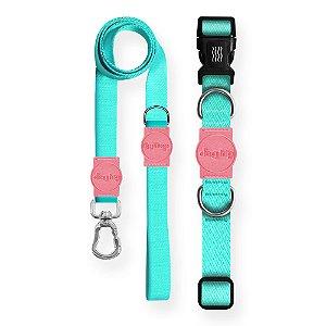 Kit Guia Premium + Coleira Premium Classic Aquamarine Rosa