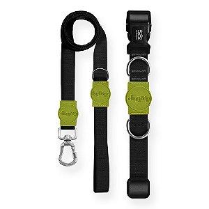 Kit Guia Premium + Coleira Premium Classic Black Verde