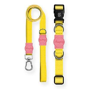 Kit Guia Premium + Coleira Premium Classic Yellow Rosa