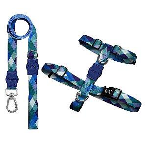 Kit Guia Premium + Peitoral H Quadriculada Azul