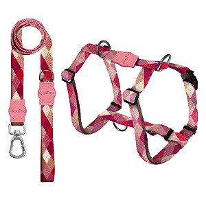 Kit Guia Premium + Peitoral Smart Quadriculada Rosa