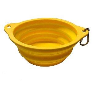 Bowl Comedouro Portátil Amarelo - Tamanho Médio