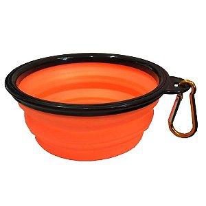 Bowl Comedouro Portátil Laranja - Tamanho Pequeno