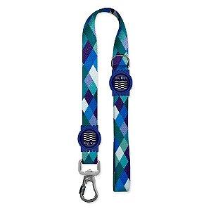Guia Premium Curta Quadriculada Azul Borracha Azul