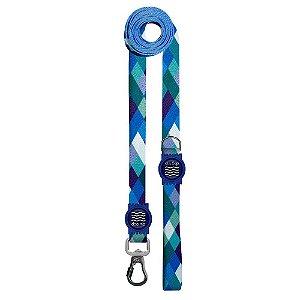 Guia Premium Longa Quadriculada Azul Borracha Azul