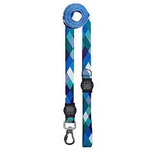 Guia Premium Longa Quadriculada Azul Borracha Preta