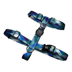 Peitoral Premium Quadriculado Azul Borracha Preta