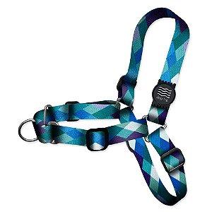 Peitoral Educativo Anti-puxão Quadriculado Azul Borracha Preta