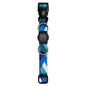 Coleira Premium Quadriculada Azul Borracha Preto