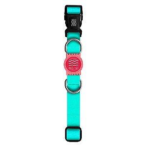 Coleira Premium Classic Aquamarine Borracha Rosa