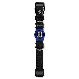 Coleira Premium Classic Black Borracha Azul