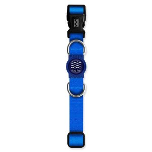 Coleira Premium Classic Blue Borracha Azul