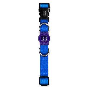 Coleira Premium Classic Blue Borracha Roxa