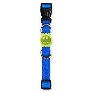 Coleira Premium Classic Blue Borracha Verde
