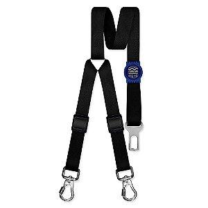 Cinto de Segurança Duplo Classic Black Borracha Azul
