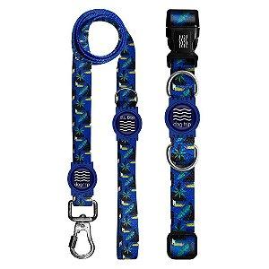 Guia Premium + Coleira Premium Tucano Azul Borracha Azul Tamanho M