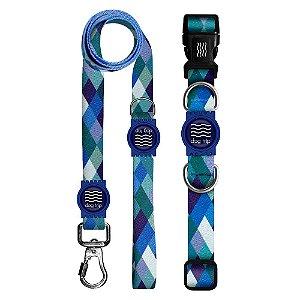 Guia Premium + Coleira Premium Quadriculada Azul Borracha Azul Tamanho M