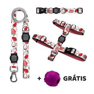 Guia Premium + Coleira Premium + Peitoral H Strawbeery