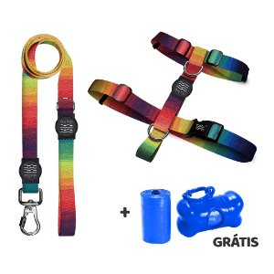 Guia Premium + Peitoral Modelo H Arco-Íris