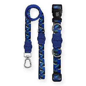 Kit Guia Premium + Coleira Premium Tucano Azul