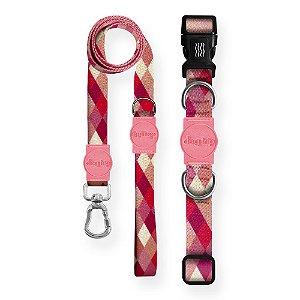 Kit Guia Premium + Coleira Premium Quadriculada Rosa