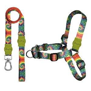 Kit Guia Premium + Peitoral Antipuxão Peace Tie Dye